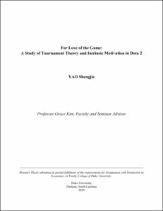 For Love of the Game: A Study of Tournament Theory and