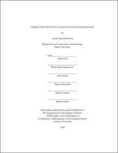 Browsing Duke Dissertation By Department Evolutionary Anthropology Durham