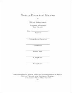 Topics on Economics of Education
